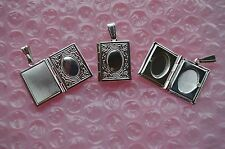 "UK  Jewellery Silver Book Locket Pendant+18"" Link Curb Necklace Chain"