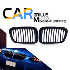 Matte Black Kidney Grill Grille Fit BMW E46 Sedan Touring 325Ci 330Ci 328 98-02