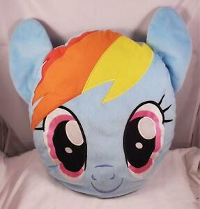 Retired Plush My Little Pony FIM 16x17 Aqua Blue Rainbow Dash Face Throw Pillow