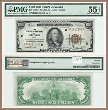 1929 National Cleveland $100 Federal Reserve Bank Note PMG 55 EPQ About Unc FRBN