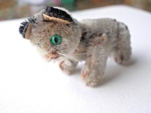 schuco mint tiny grey jointed mohair cat