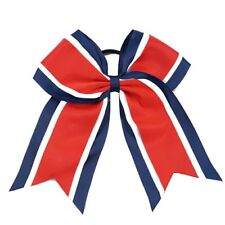 "8"" Navy, White, RED, Big Cheer Bow, Softball, Cheerleading, Soccer, sports"