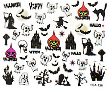 Nail art autocollants stickers ongles: Décorations Halloween fantômes chats