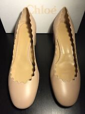 Chloe Pink Leather Scalloped Pumps size 10