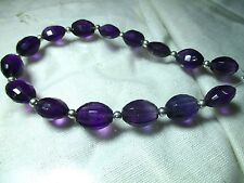 Stunning 8'' gem grade Oval faceted Hand Polished Amethyst beads-R1
