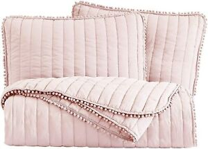 3 Pc Blush Pink Pom Pom Quilt Set Channel Quilted Ball Fringe Bedspread Coverlet