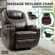 Brown Massage Recliner Chair Lounge Leather Sofa Vibrate Heat 360°Remote Control