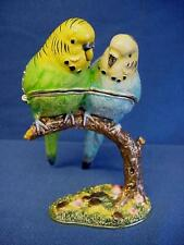 More details for juliana treasured trinkets budgerigar pair of budgies metal trinket box 15479