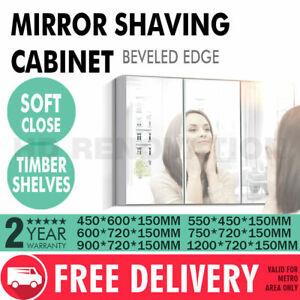 450/550/600/750/900/1200*720*150mm Mirror Shaving Cabinet Beveled Edge 1~3 Door