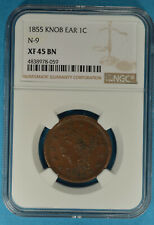 1855 Knob on Ear Braided Hair Large Cent NGC XF45BN- Attractive Light Brown Tone
