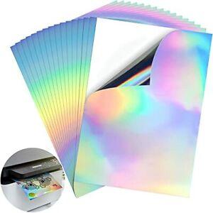 8.25 x 11.7 Inches A4 Holographic Printable Vinyl Sticker Paper Rainbow Vinyl...