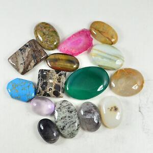 274.80 Carat Mixed Lot 100%Natural Agate Jasper Coral Quartz Gemstone Cabochon