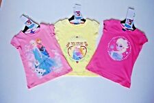 Girls Disney Character Frozen Cap Sleeve T Shirt Pink Lemon 3 4 5 6 7 8 Years