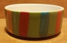 "Signature Housewares STRIPES Pet bowl, 4 3/4"" x 2"", Green, Stoneware, Excellent"