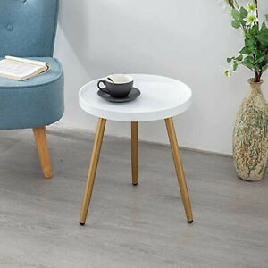 """Round Table, Wooden Tray Table with Metal Tripod Stand 18"""" H x 15"""" D"""