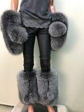 Saga Blue fox( Royal frost) leg warmers and mittens.