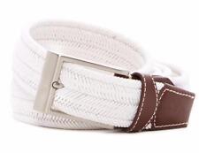 "New with Tag-$98 Tommy Bahama White Braided Stretch & Leather Belt SZ 4XL-56-58"""