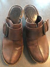 Born Concepts BOC Brown Leather Mules Clogs Buckle Embellishment Size 7