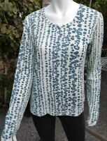 ISIS Ivory/Blue Long Sleeve Leopard Print  Top Size M