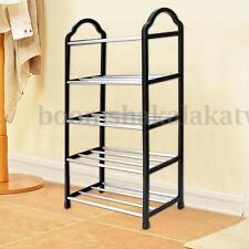 5 Tier Shoe Tower Rack Stand Space Saving Organiser Storage Unit Shelves Black