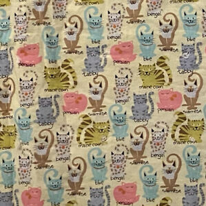 """Vintage Handmade Child Lap Cat Quilt 40""""x 36"""" Yellow Brown Blue  Buffalo On Back"""