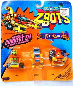 MICRO MACHINES Z-BOTS LINKBOTS KON, STRUK & TON; GALOOBVINTAGE 1993 ZBOTS