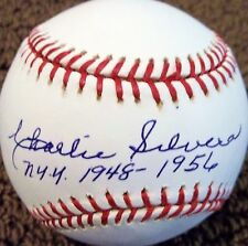 CHARLIE SILVERA YANKEES 1948-1956 SIGNED OML BASEBALL CERTIFIED AUTHENTIC JSA