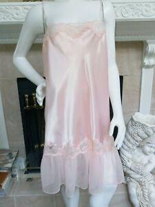 Solange Sleeveless Pink Sexy Nightgown Satin/Chiffon Lace Size 18/20 EUC