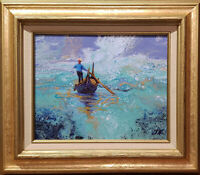 """Gondolier. Original oil over acrylic pouring on canvas 8""""x10""""  fantasy painting."""