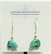 Sterling Silver Nevada TURQUOISE Bear Dangle Earrings #5506...Handmade USA
