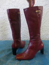 ENZO ANGIOLINI BURGUNDY/RED GENUINE LEATHER ZIP UP BOOTS-SZ 8M