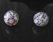 1 Fine Silver Cloisonne Butterfly 19mm Round Bead 10285
