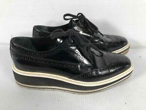 Prada Black Patent Leather Square Toe Wingtip Platform Brogues Oxford Shoes 37.5