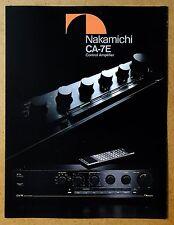 NAKAMICHI Control Amplifier CA-7E ~ Vintage Audio Brochure / Catalog ~ Original