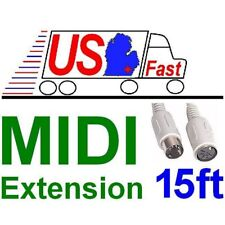 15ft long MIDI Male~Female Extension Cable 5pin DIN Digital Audio,synthesizer