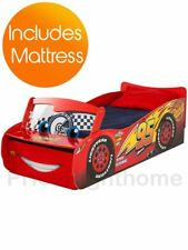 DISNEY CARS LIGHTNING MCQUEEN STORAGE TODDLER BED + FULLY SPRUNG MATTRESS