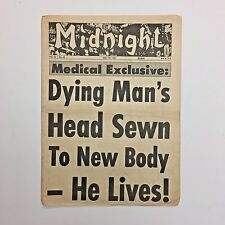 Midnight Magazine Tabloid Newspaper 1967 Medical Miracle Decapitation Hippo Sex