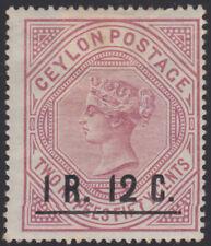 906) CEYLON 1885   1 R. 12 C. on 2 R. 50 C. QUEEN VICTORIA  - UNUSED / GUMMED
