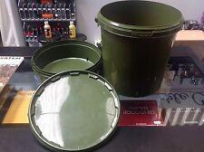 2 x NEW 3 piece Carp Fishing 10 Litre Green Carp Bait Bucket