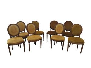 Gruppo di otto sedie stile Luigi XVI - faggio tinto noce  - metà   900
