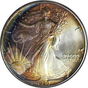 American Silver Eagle 1990 .999 Fine 1 oz Toned