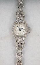 Ladies Vintage 14k Solid White Gold Diamond Hamilton Wristwatch Speidel Band