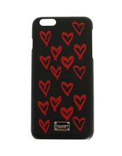 NEW $200 DOLCE & GABBANA Phone Case Black Heart Dauphine Leather iPhone6 Plus
