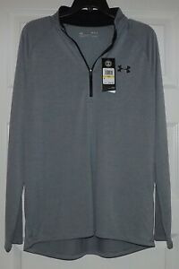 Under Armour Tech 2.0 Mens Training Top Gray Half Zip Long Sleeve Gym SZ Medium