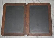 ANTIQUE FOLDING DOUBLE SLATE WOOD FRAME CHALKBOARD TABLET EARLY CENTURY SCHOOL