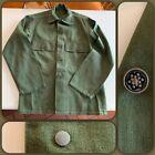 VTG 50s US Army 13 Star Button Sateen Utility Shirt Jacket OD Green MEDIUM