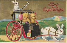 S21 1625 Easter Postcard Baby Chicks Carriage Bunny Driver Eggs 1909