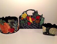 Vintage Black Toleware Hand Painted 3pc Fruit Floral Planters and Boxes