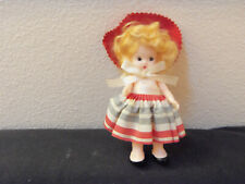 old 50's brittle plastic girl doll w jointed arms, mohair wig- all orig