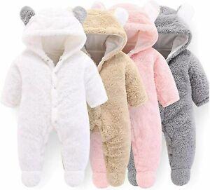 Newborn Baby Cartoon Bear Snowsuit Warm Fleece Hooded Romper Jumpsuit